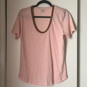 J. Crew blush t-shirt with beaded neck